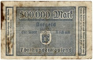 So ähnlich sieht der Staatsbankschrott ausQuelle: https://secure.wikimedia.org/wikipedia/commons/wiki/File:Notgeld_der_Stadt_Bochum_1923_-_500_000_DM_-_Rueckseite.jpg
