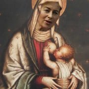 Vorzeigemutti nimmt sich Christkind zur BrustQuelle 1:https://secure.wikimedia.org/wikipedia/commons/wiki/File:Madonna_del_Tabarrino.jpgQuelle 2: https://secure.wikimedia.org/wikipedia/commons/wiki/File:Vonderleyen_hamm_2009.jpg