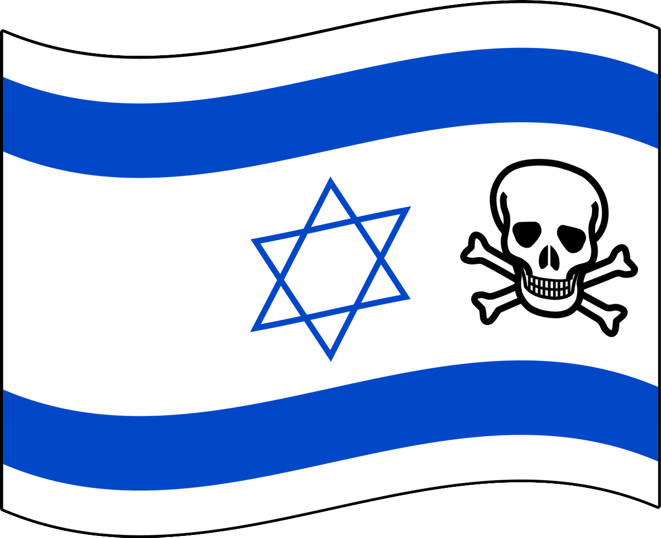 Israels zweites Gesicht …&lt;br /&gt;<br />Quelle 1: https://secure.wikimedia.org/wikipedia/commons/wiki/File:Flag_of_Israel_%28bordered%29.svg&lt;br /&gt;<br />Quelle 2: https://secure.wikimedia.org/wikipedia/commons/wiki/File:Skull_and_crossbones.svg