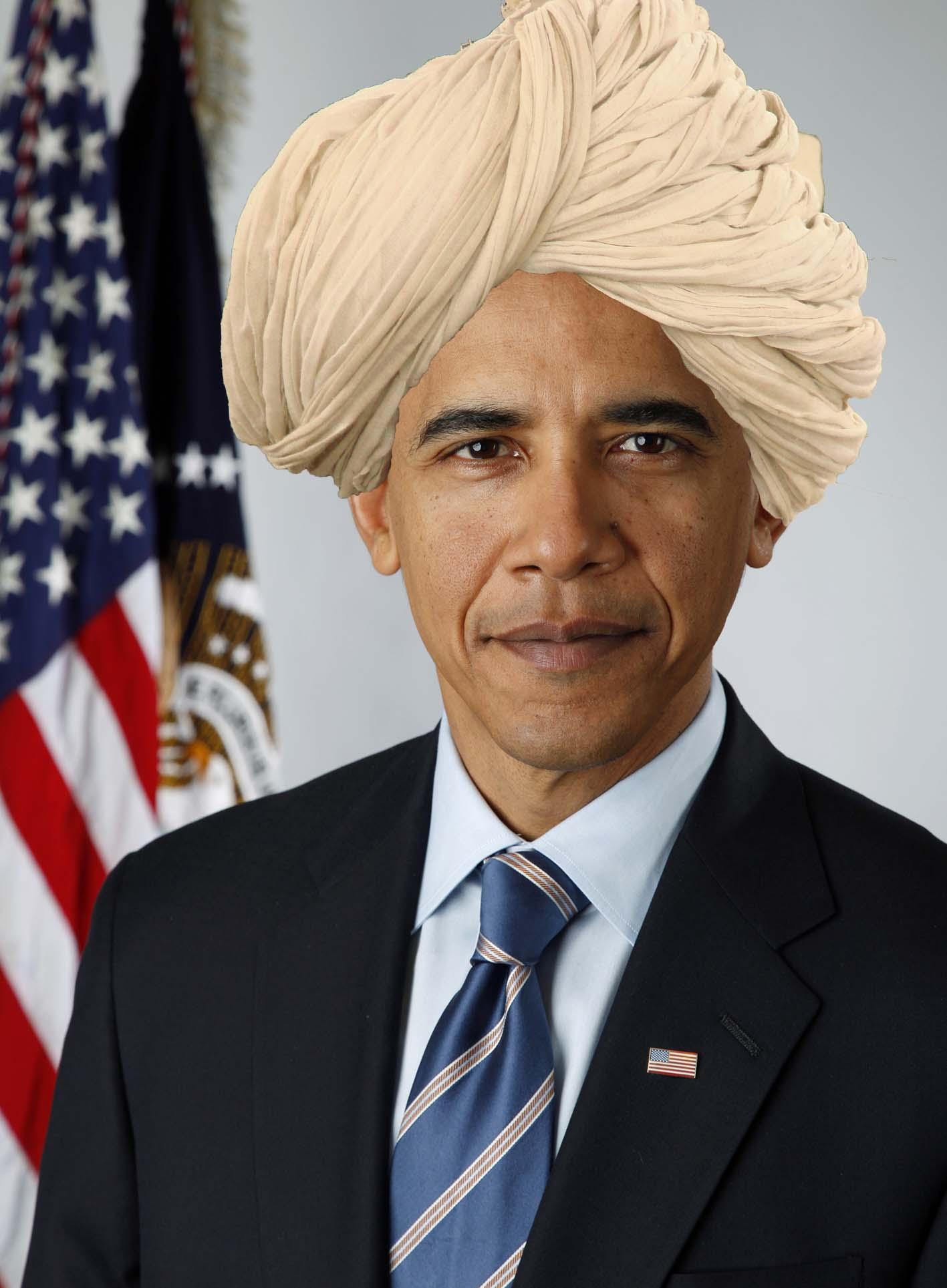 Mullah Barack Hussein Obamas Fatwas und die Vollstreckung daraus resultierender Todesurteile Official_portrait_of_Barack_Obama_with_Turban