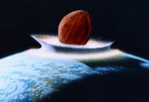 Kosmische-Katastrophe: 400 Meter Asteroid verfehlt Deutschland Walnut impact • Quelle: http://kamelopedia.net/index.php/Datei:Walnuss_impact.jpg • Autor: Kameloid