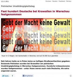 Spiegel berichtet: Dutzende Polizisten bei Krawallen in Warschau festgenommen Bildzitat Bildschirmfoto 2011-11-12 um 16.29.06