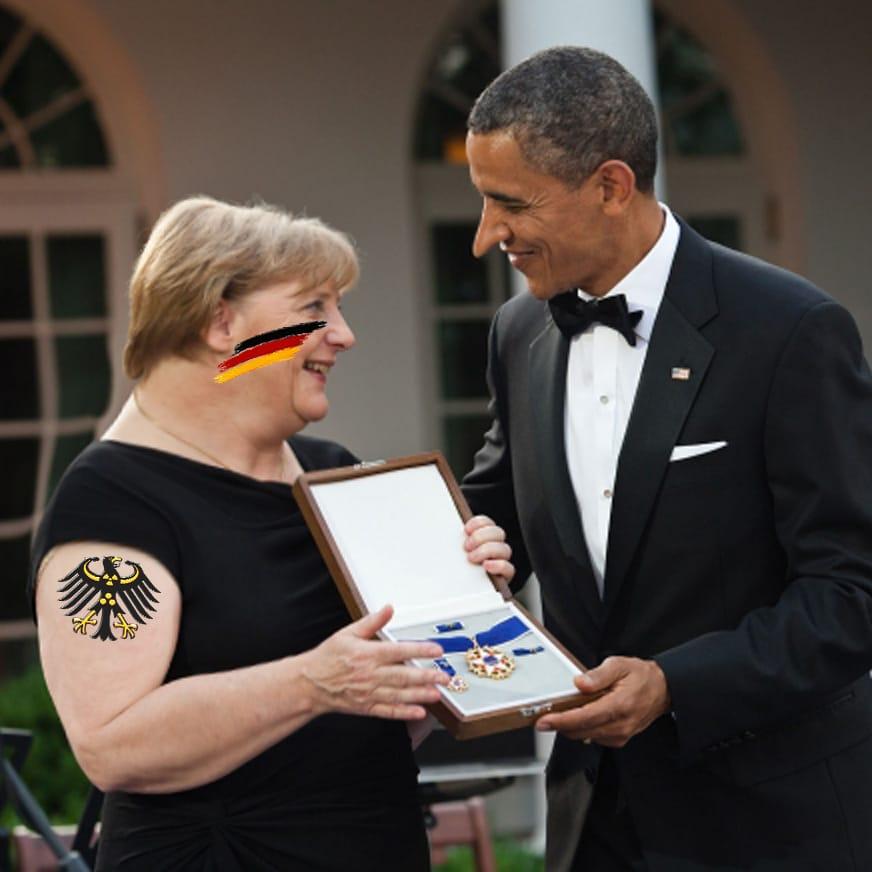 Obama muss in Deutschland mit Verhaftung rechnen - Merkmale echter Freundschaft Merkel_Obama_Economic Nobel War Prize Wirtschafts-Kriegsnobelpreis
