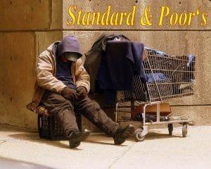 Banken und CRA's legen Lösungsvorschläge für Finanzkrise vor Standard & Poors Homeless Man