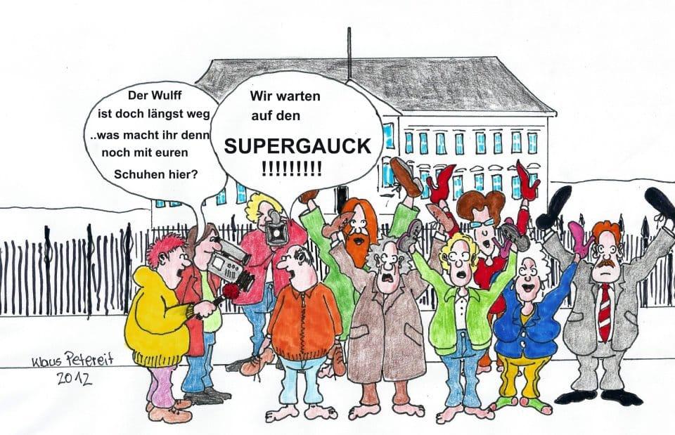 Schloss Bellevue Warten auf Super Gauck • Autor: Klaus Petereit