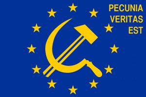 Draghische Momente einer €rotischen Einheizwährung Flag_of_Europe pecunia veritas est-01