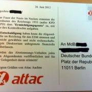 Attac Aachen Initiative gegen den ESM