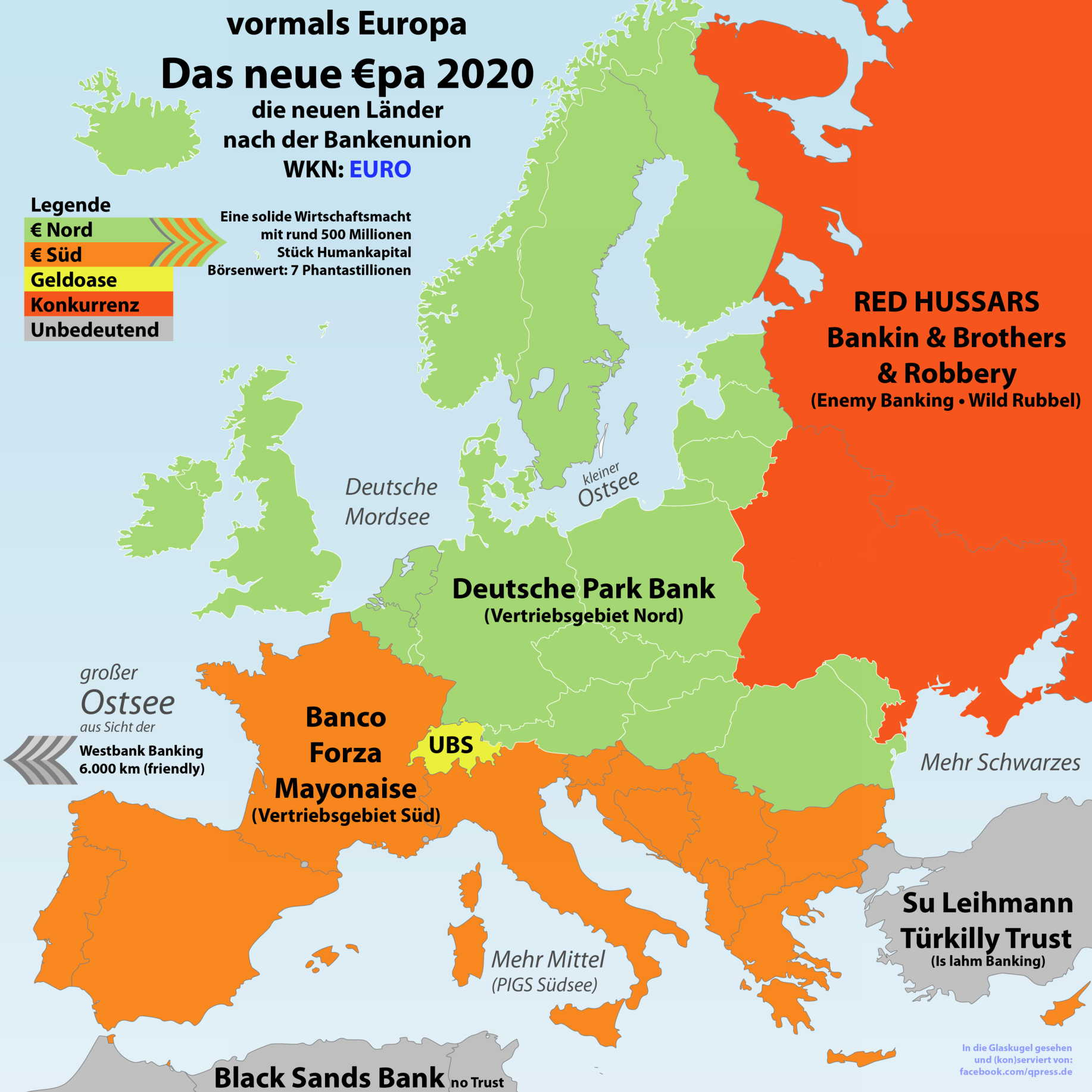 Europa nach dem großen Geldkrieg in den Grenzen von 2020