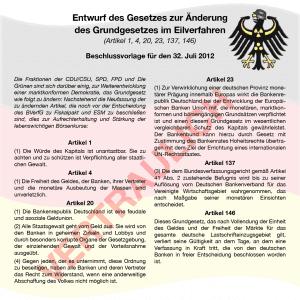 Schäubles Rache am BVerfG - Grundgesetzänderung im Schweinsgalopp Verfassungsaenderung