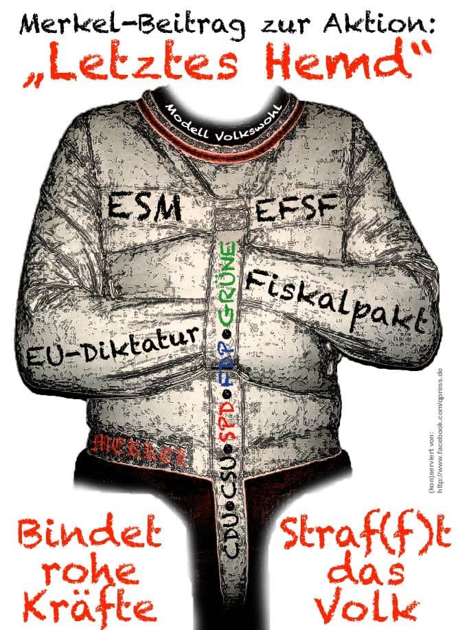 Merkel reagiert mit Gegenentwurf auf Bürgerprotest - Aktion letztes Hemd