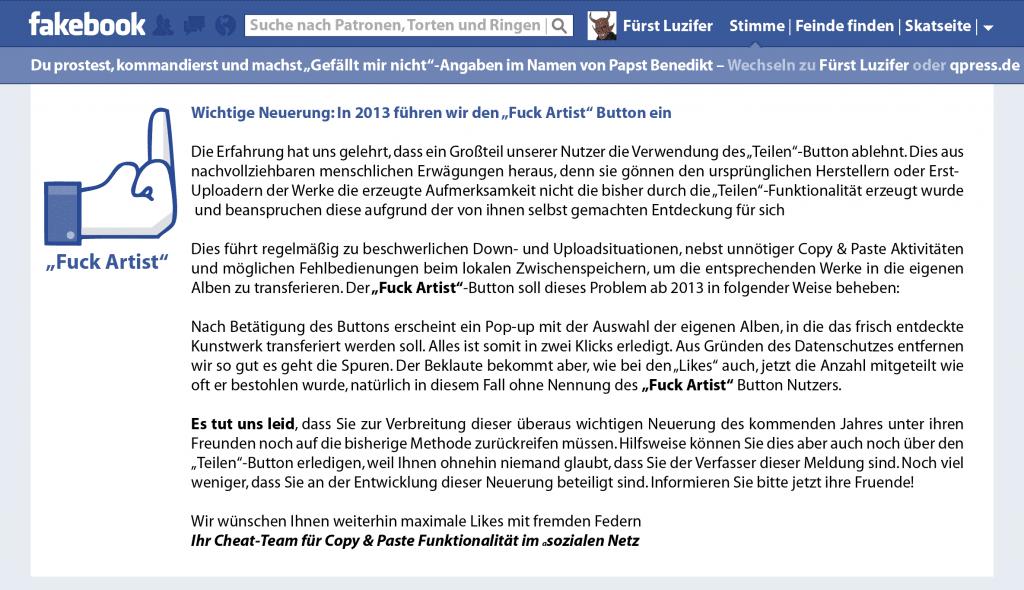 "Facebook Einführung des ""Fuck Artist"" Button verzögert sich Fakebook Fuck Artist Button-01"
