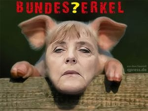 Ferkel-Mützen bedrohen Europas Einheit Bundes Merkel Ferkel Saustall Animal Farm Regierung