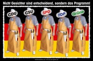 Bundestagswahl Die Schlachter Parteien CDU CSU SPD FDP DIE GRUENEN