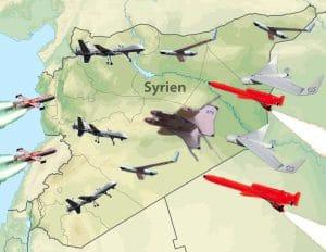 Drohnen über Syrien, Drei-Fronten-Krieg, USA machen Völkerrecht zu Klopapier Drohnen aller nationen ueber Syrien Stellvertreterkrieg USA RUssland China IRAN drei fronten krieg