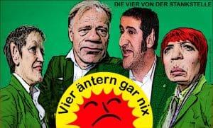 Die Grünen, Rattenfänger zu Berlin, die neuen Populismus-Wellenreiter Die Vier von der Stankstelle Claudia Roth, JuergenTrittin, Renate Kuenast, Cem Oezdemir