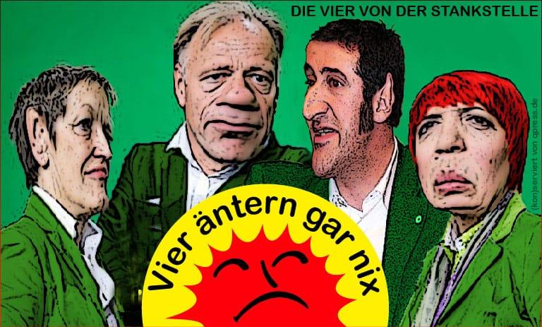 Die Vier von der Stankstelle Claudia Roth, JuergenTrittin, Renate Kuenast, Cem Oezdemir