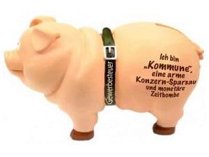Kommune, die Konzern Sparschwein Sparsau monetaere Zeitbombe