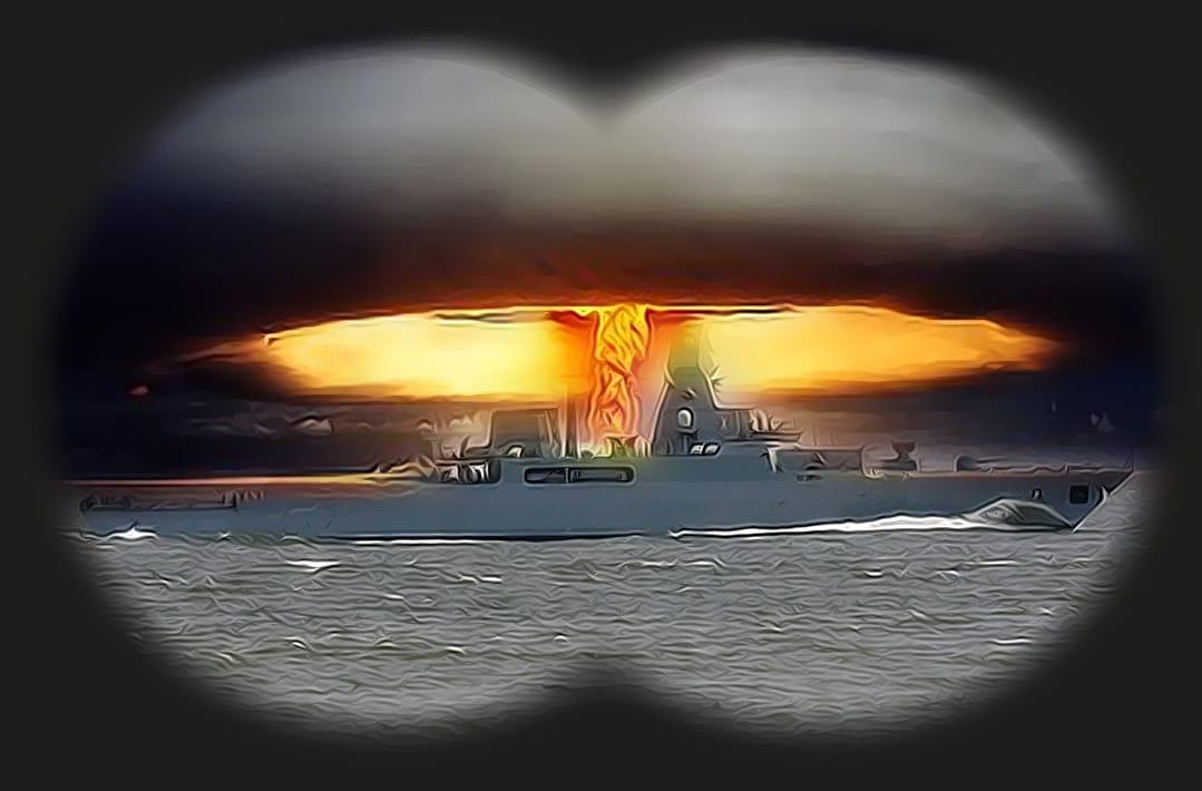 Spotter Kriegsschiff Waffentest Atompilz Bedrohung