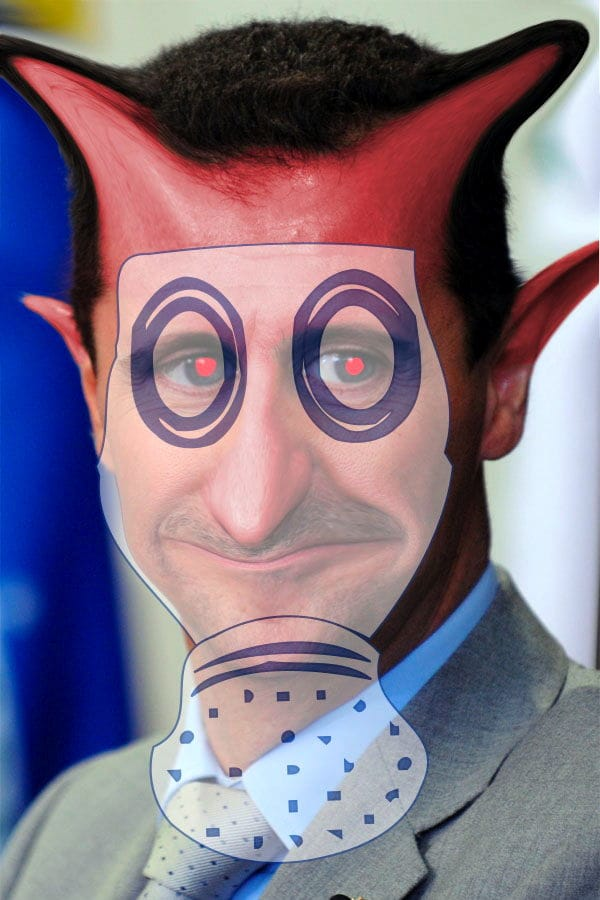 Syriens Giftgas, die absehbare Eskalation und Obamas wackelige rote Linie Bashar_al-Assad_gasmaske devil
