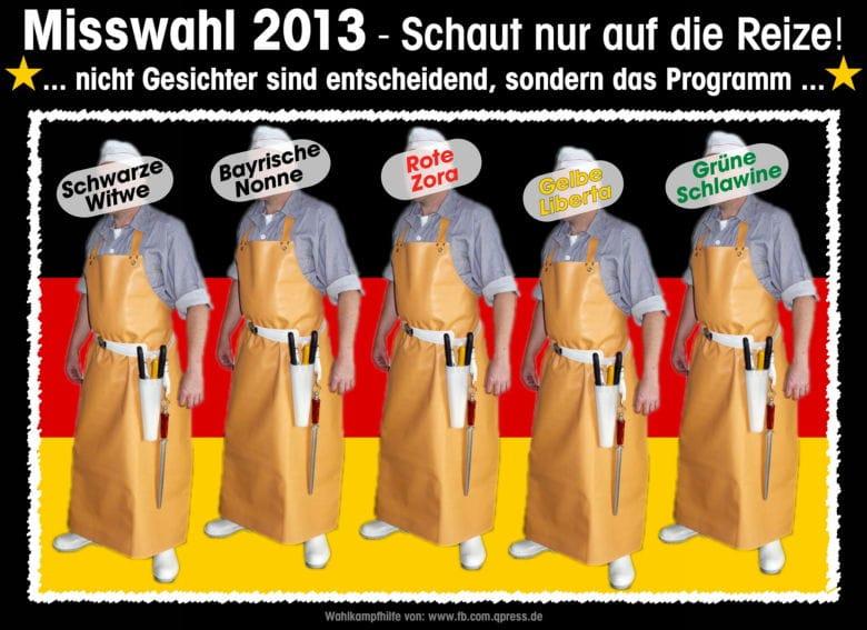 Bundestagswahl 2013, zugelassene Metzger-Parteien, des Michels böse Wahl der Qual Misswahl 2013 Bundestagswahl Metzger Schlachter