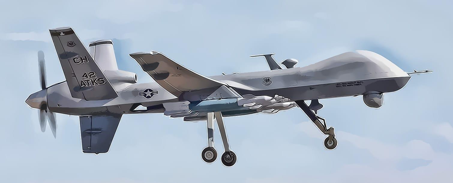 US Drohne mit Rakten bewaffnet Grafik Hellfire