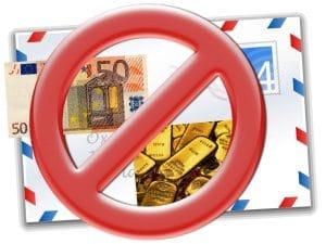 Gold, Bargeld Versand Verbot in Frankreich Kriminalisierung Gesetz 2013