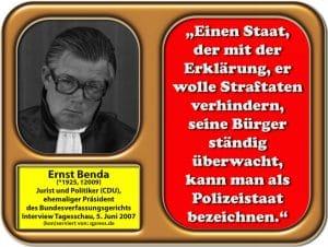 New World Stasi Datenkrake feiert längst Jahrzehnte des perpetuierenden Bestehens benda__ernst_zum_thema_polizeistaat