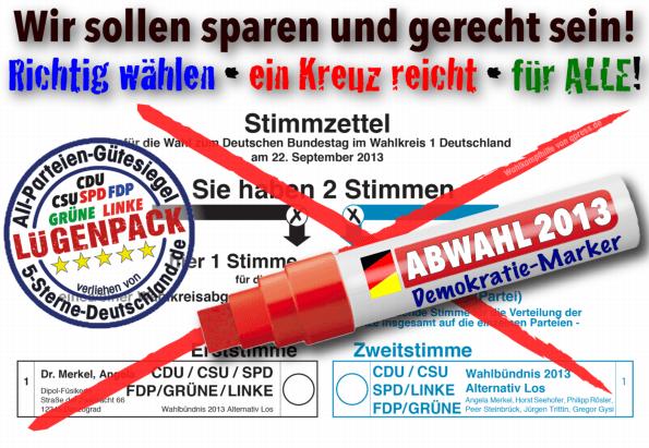 Das Kanzler-Duell, Hornberger Schießen mit 80 Millionen Betroffenen Bundestagswahl Abwahl Wahlzettel 2013 mit Demokratie-Marker