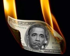 Schuldenkönig Obama is burning washington money US king of debt crisis