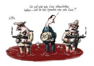 Wenn der Gasmann dreimal klingelt, steht die Weltpolizei mit neuer Syrien-Strategie in der Tür Obamas rote Linie Syrien Giftgas Assad nahost Krise karikatur Klaus Stuttmann