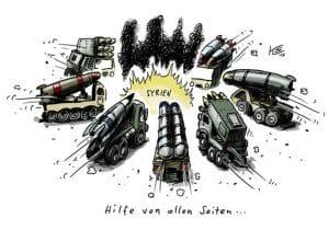 Wenn der Gasmann dreimal klingelt, steht die Weltpolizei mit neuer Syrien-Strategie in der Tür Syrien Hilfe von allen Seiten Karikatur Klaus Stuttmann