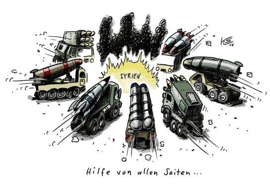 Syrien Hilfe von allen Seiten Karikatur Klaus Stuttmann