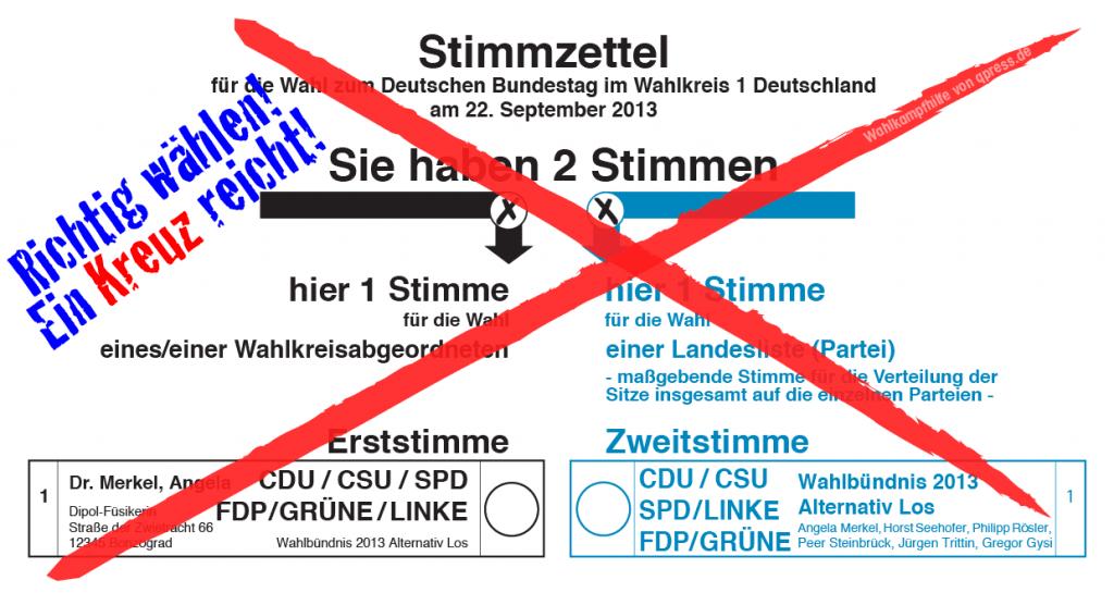 Bundestagswahl 2013, zugelassene Metzger-Parteien, des Michels böse Wahl der Qual bundestagswahl_wahlzettel_2013_ein_kreuz_reicht