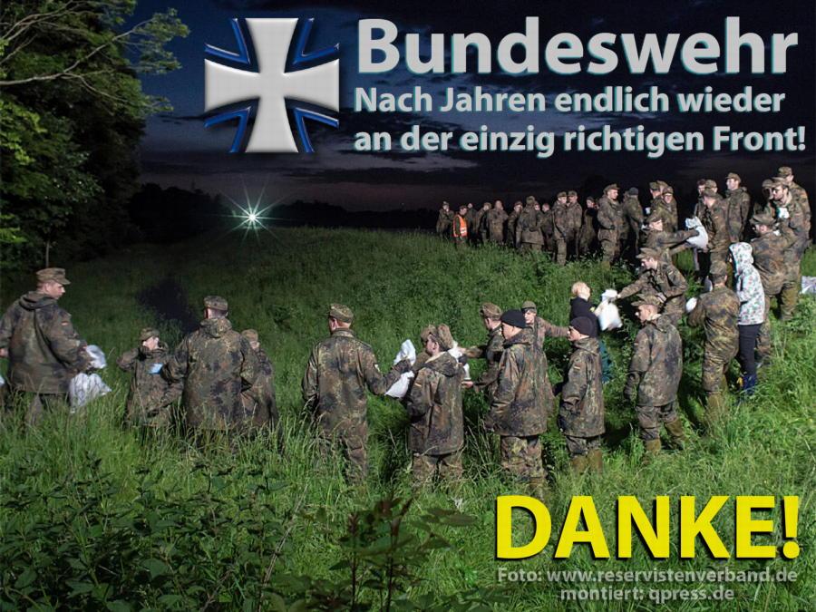 Nachwuchssorgen bei den deutschen Berufsmördern bundeswehr_an_der_richtigen_front_hochwasser_flut_2013 wehrpflicht versus berufsarmee