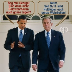 EUSA faseln Sanktionserfolge gegen Russland herbei, neues 9/11 Kausalketten-Staccato bush_obama_luegen_halbwahrheiten_911_usa_betrug_terror