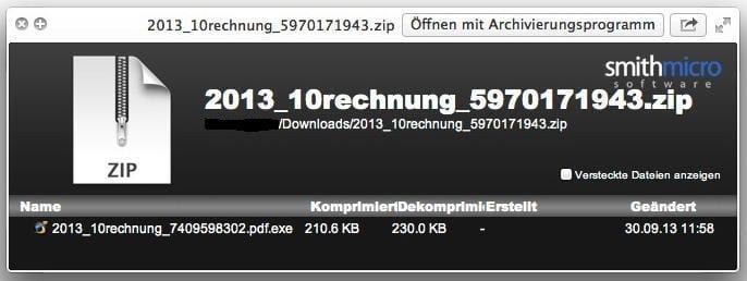 Virenalarm, Betrugsversuch mit vermeintlicher Telekom-Rechnung Bildschirmfoto 2013-09-30 um 18.01.14