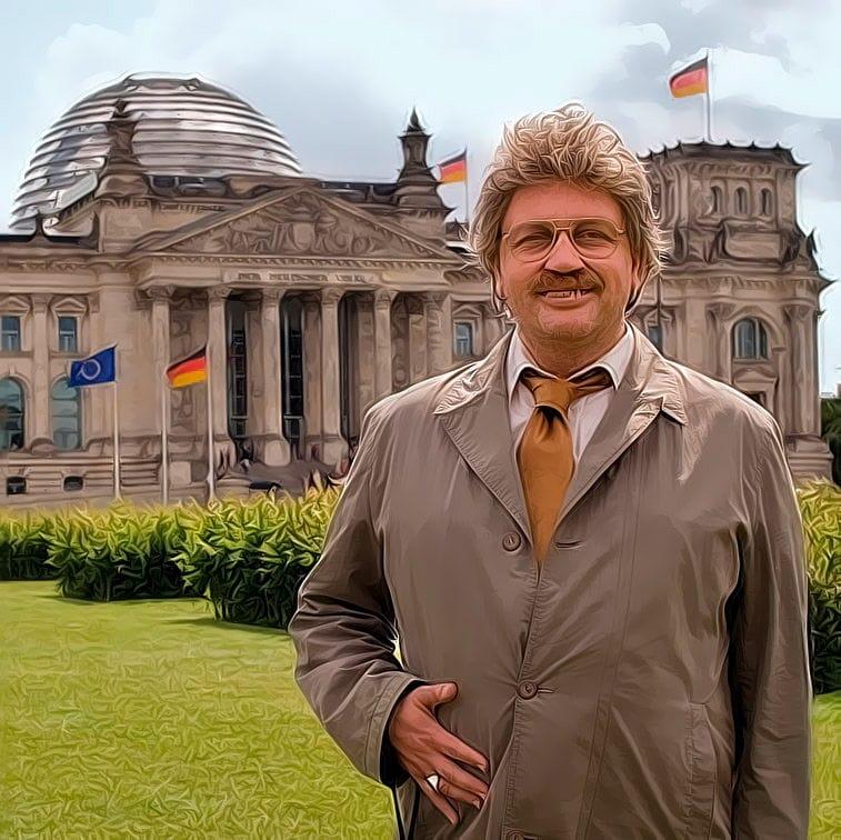 Merkel schmeißt hin, Suche nach parteilosem Generalschuldübernehmer für Kanzler-Job Horst Schlaemmer in Kanzlerpose vor dem deutschen Reichstag isch kandidiere