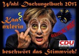kaanzlerin_wahlkampf_2013_schlange_dschungelbuch_kanzlerin_merkel_beschwoerung_stinkefinger_duell_peer_steinbrueck