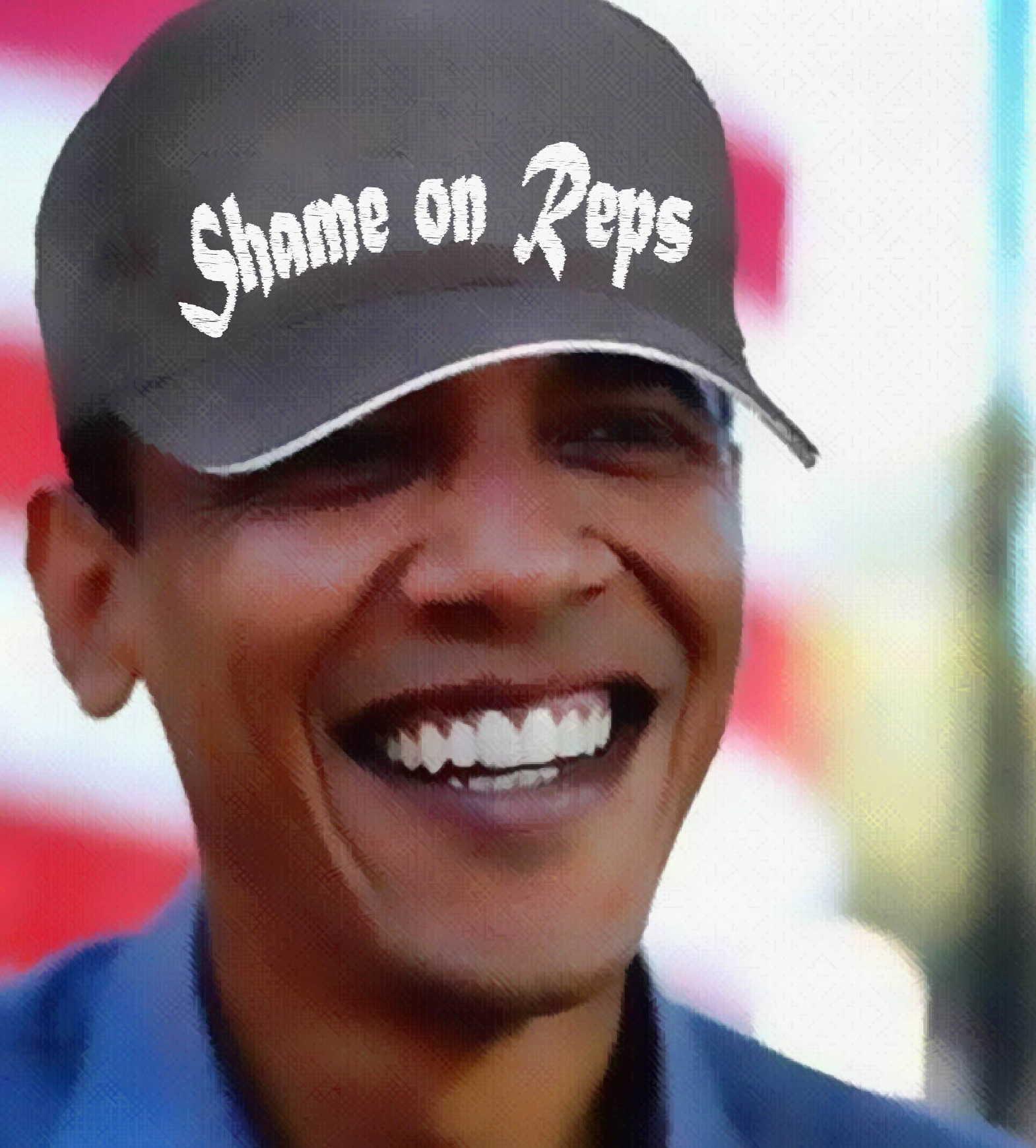 White House down, Obama mit Reps Hate Cap im Urlaub gesichtet Barack Obama shame on Reps basecap qpress