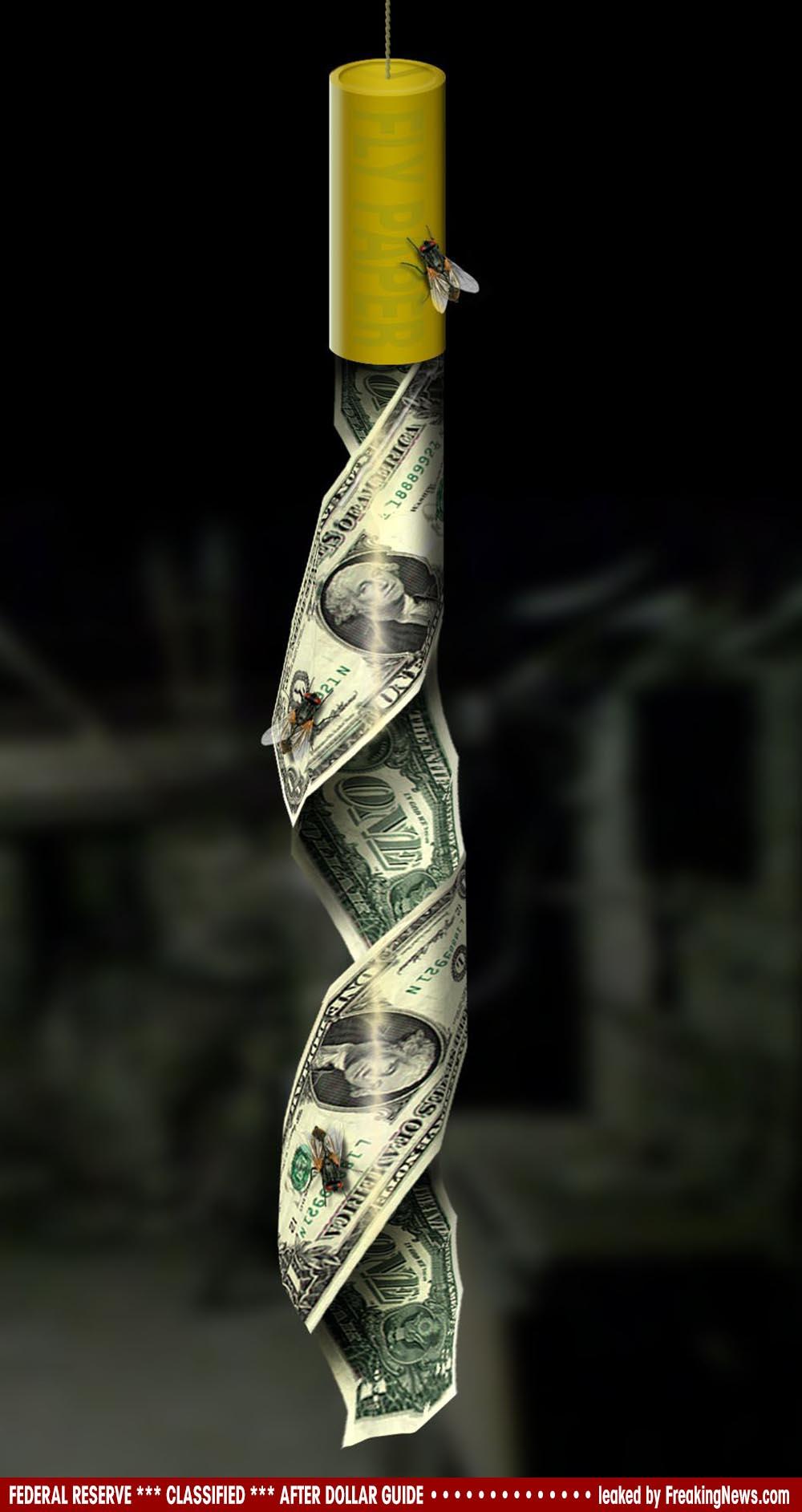 Geheimdokumente der Federal Reserve zur Nach Dollar Ära geleakt Dollar-Fly-Trap-Fliegenfalle-dreck-geld-klebt-stinkt