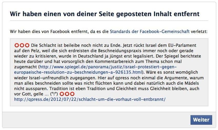 Facebook Zensur, Kehle durchschneiden ist ok, Beschneidung absolutes Tabu Facebook loeschung von inhalten zensur meinungsmache kontrolle
