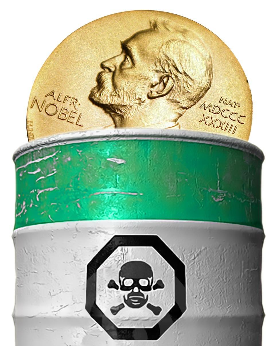 Nobel-Pannenserie reißt nicht ab, ein Friedensnobelpreis für die Tonne Nobel peace Poison prize