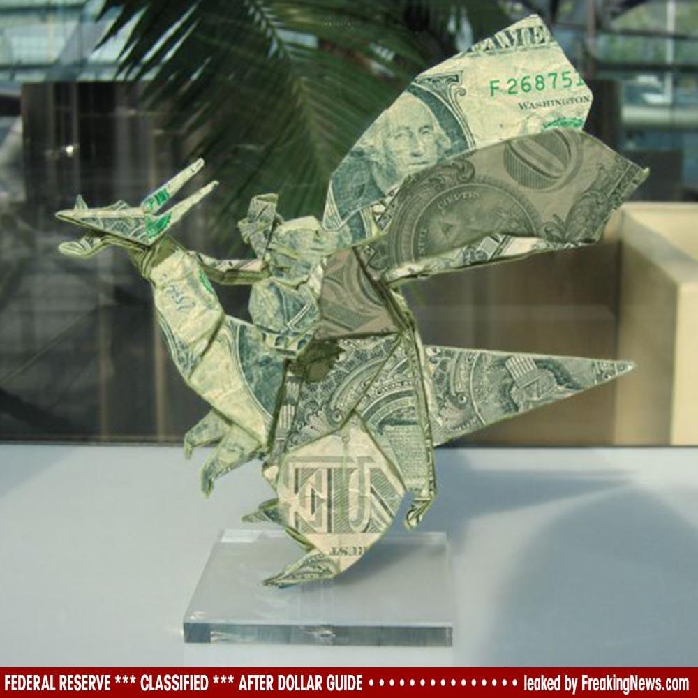 Geheimdokumente der Federal Reserve zur Nach Dollar Ära geleakt Origami-Dollar-falt geld-altpapier-verwertung-kunst