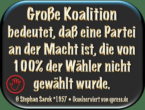 Alles auf Anfang, nach der Wahl ist vor der Wahl, nur etwas schlimmer Sarek, Stephan - Grosse Koaltion bedeutet eine regierungspartei die 100 prozent nicht gewaehlt ist