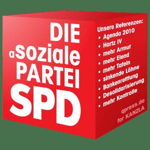 Deutscher Lohn-Hohn am Fallbeispiel Angela Merkel SPD-Cube Logo die asoziale Partei qpress