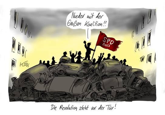 SPD die getraeumte Revolution Genossen ohne Arsch in der Hose Karikatur von Klaus Stuttmann gekaufte Demokratie