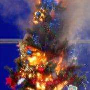 weihnachtsbaum in falmmen erleuchtung abgefackelt weihnachtstraum oh tannebaum