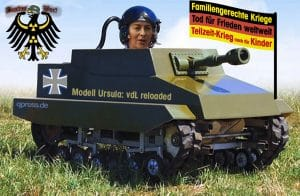 Von der Leyen - defektes Kriegsgerät - hängt im Irak fest Kriegsministerin von der Leyen den Laien im panzer auf dem Weg zur Front fuer einen kind- und familiengerechten Teilzeitkrieg bundeswehr
