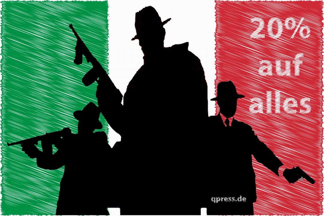 Italien erfindet Kriminalitäts-Abgeltungssteuer, 20 Prozent auf alles Flag_of_Goverment_Mafia_Italy_Sondersteuer_Abgabe_Regierungskriminalitaet qpress