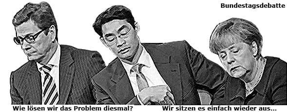 Pitti und der Bundesdackel 08_antilobby_bundestagsdebatte merkel roesler westerwelle beim schnarchen